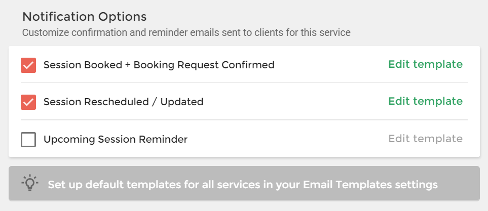 Session Confirmation Email Templates Workflow Improvements Help